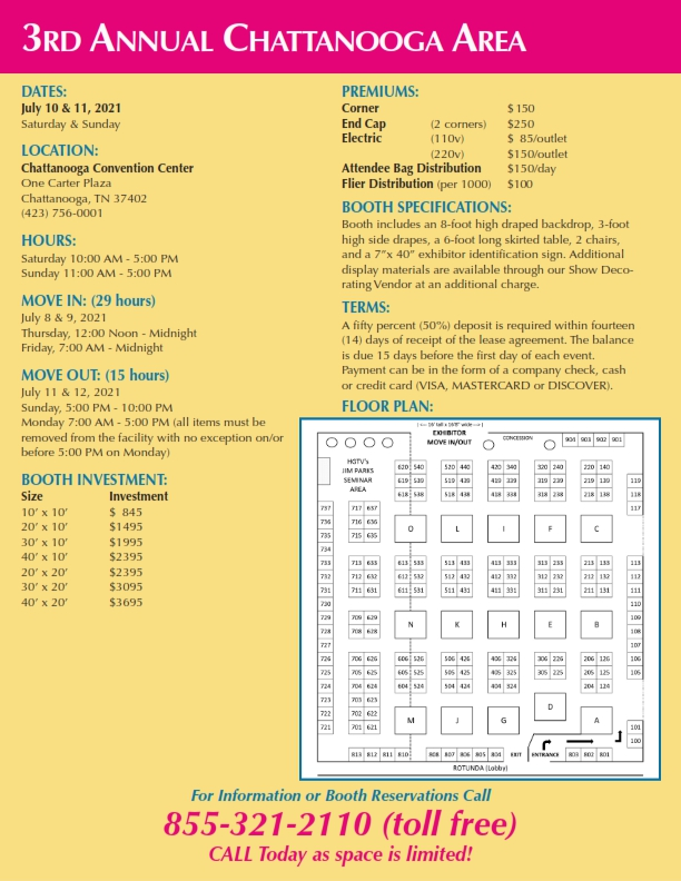 Chattanooga Exhibitor Info as of 041521
