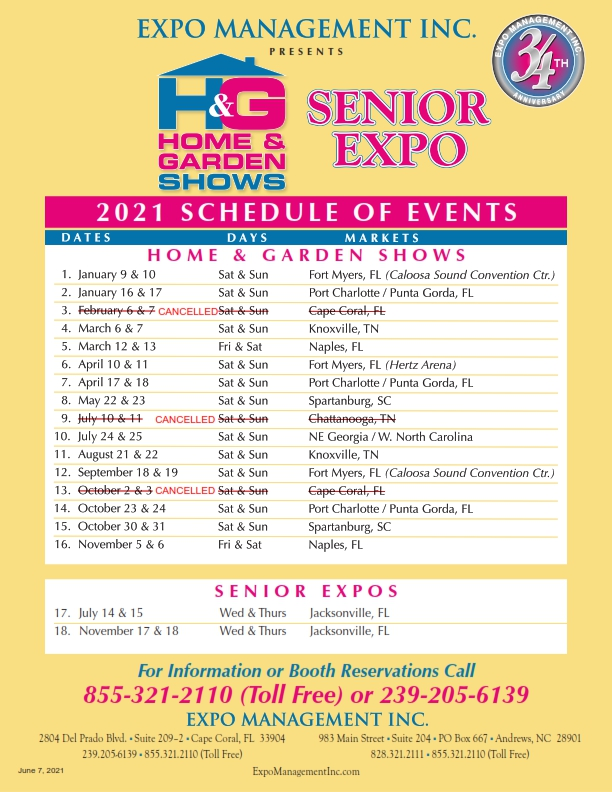 SCHEDULE OF EVENTS as of 041921