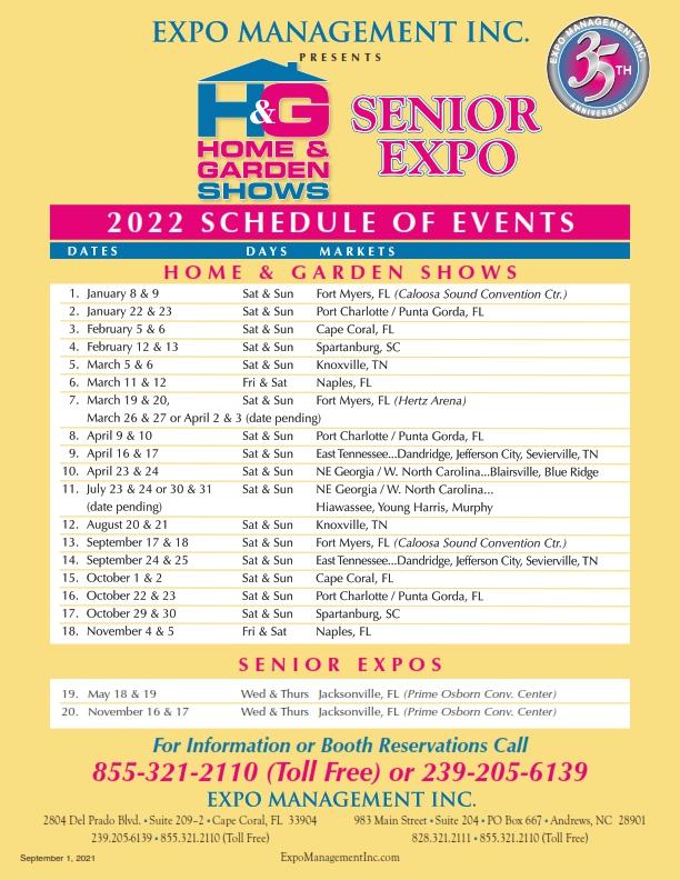2022 Schedule of Events